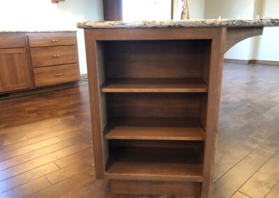 Bookcase on end of island