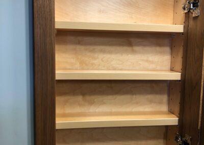 Hickory medicine cabinet interior