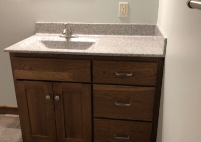 Hickory vanity with Onyx top