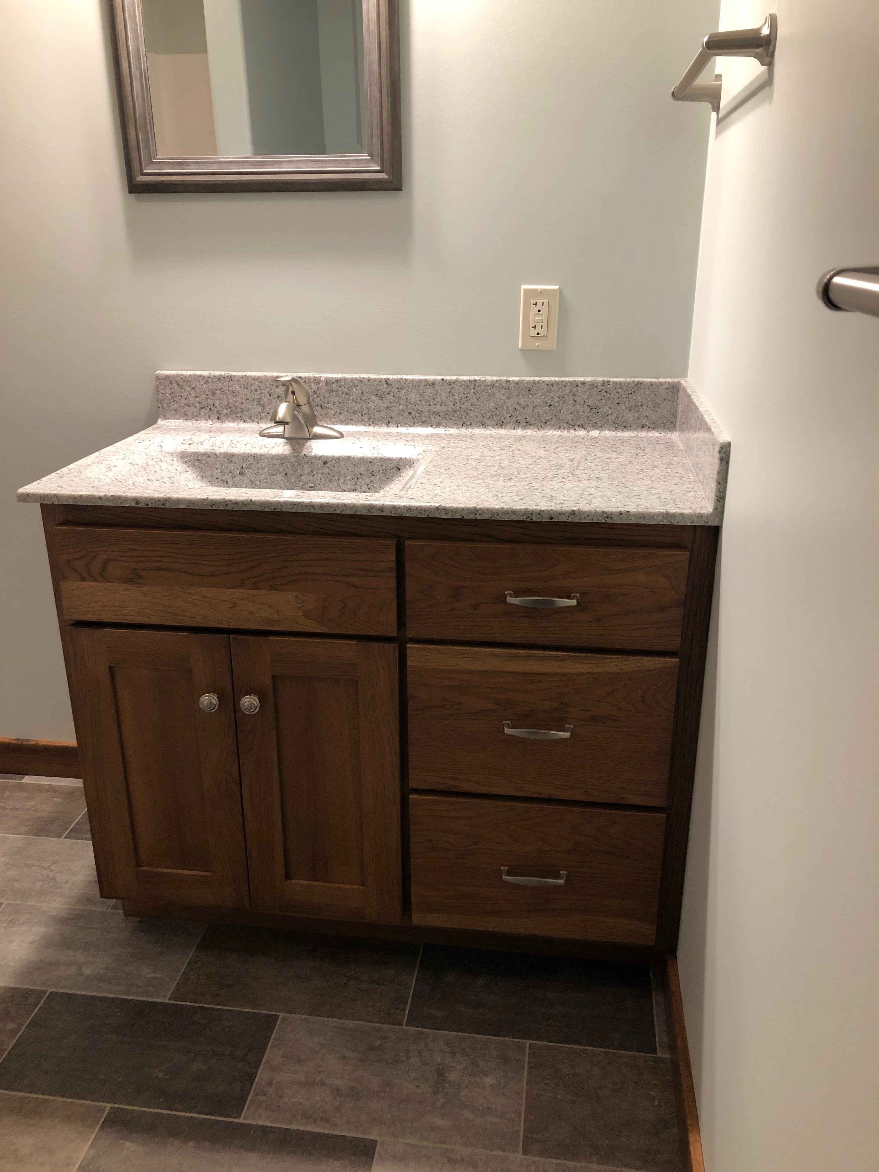 Hickory Shaker Offset Bath Cabinet