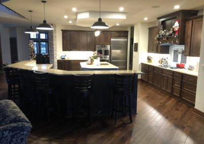 Rustic Hickory Kitchen with painted island